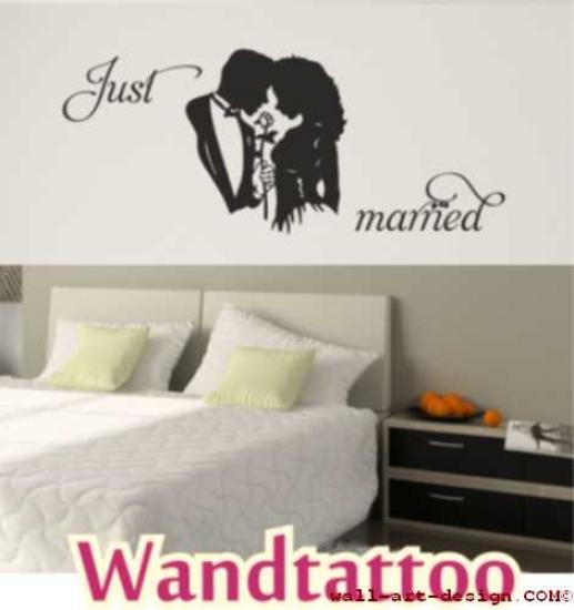 Just married liebe luxuriöses wandtattoo