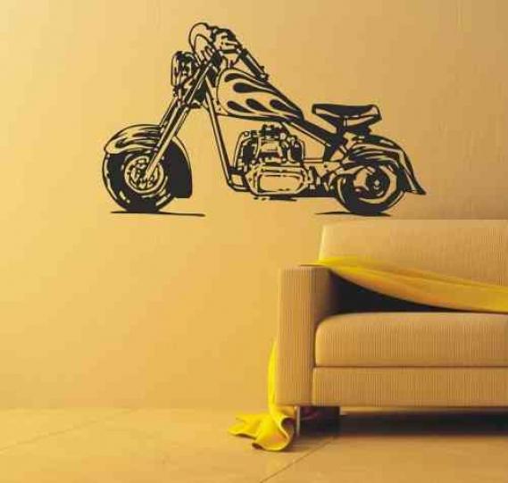 Wandtattoo online shop f r preiswerte wandtattoos wandtattoo chopper bike motorrad - Motorrad wandtattoo ...