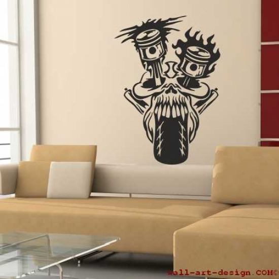 Wandtattoo online shop f r preiswerte wandtattoos totenkopf skull bike motorrad - Motorrad wandtattoo ...