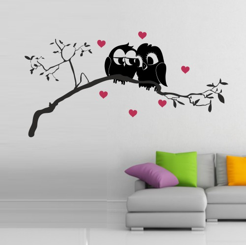 wandtattoo online shop f r preiswerte wandtattoos liebende eulen auf ast sitzend. Black Bedroom Furniture Sets. Home Design Ideas