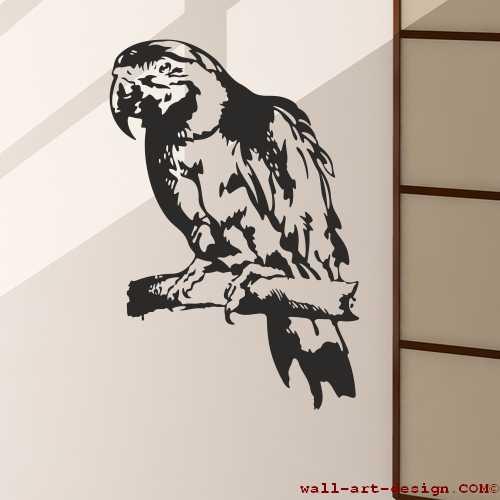 Wandtattoo online shop f r preiswerte wandtattoos papagei kakadu ara aufkleber - Wandtattoo papagei ...